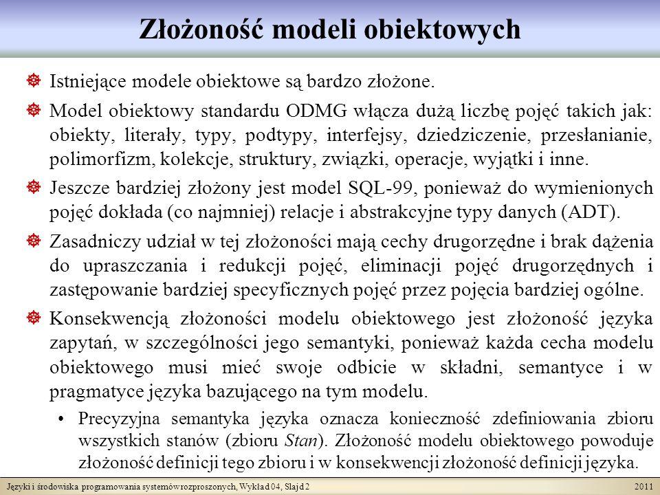 Języki i środowiska programowania systemów rozproszonych, Wykład 04, Slajd 2 2011 Złożoność modeli obiektowych Istniejące modele obiektowe są bardzo z