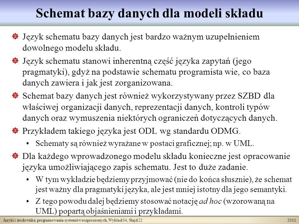Języki i środowiska programowania systemów rozproszonych, Wykład 04, Slajd 22 2011 Schemat bazy danych dla modeli składu Język schematu bazy danych je
