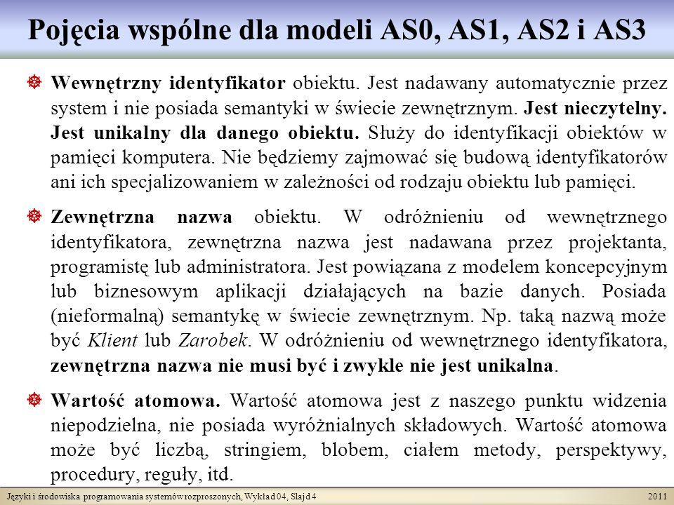 Języki i środowiska programowania systemów rozproszonych, Wykład 04, Slajd 15 2011 Model relacyjny i model zagnieżdżonych relacji Model AS0 włącza struktury danych zakładane przez model relacyjny jako szczególny przypadek.