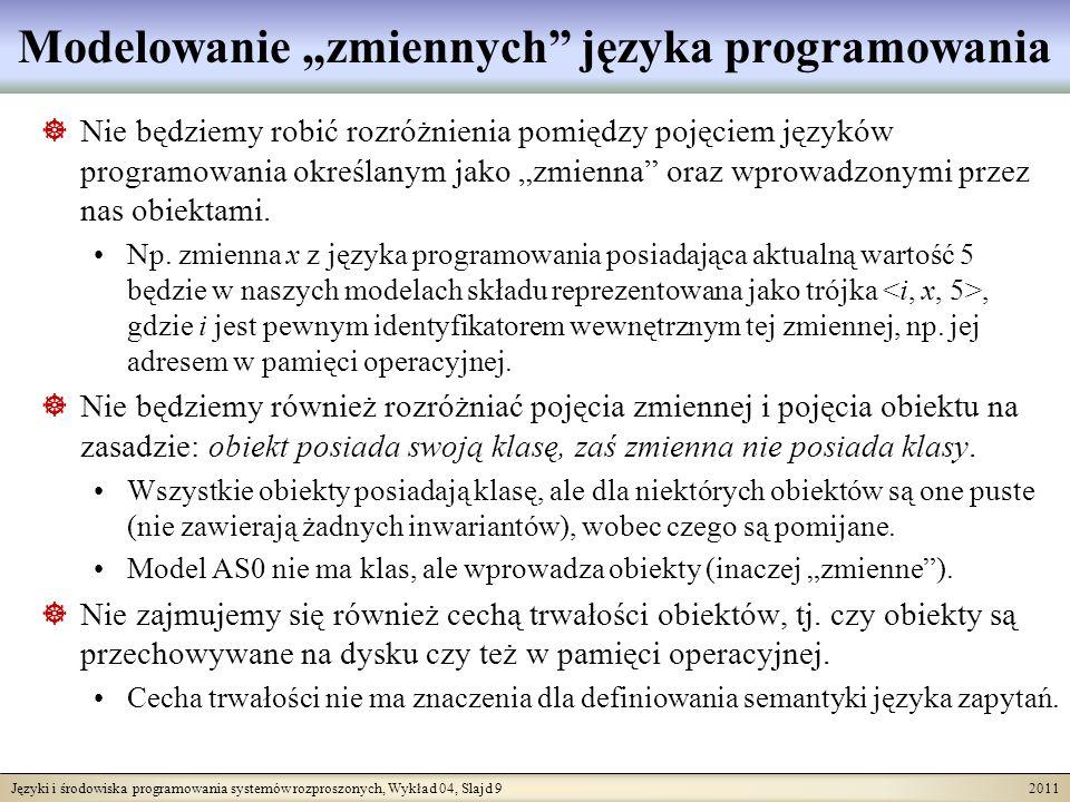 Języki i środowiska programowania systemów rozproszonych, Wykład 04, Slajd 9 2011 Modelowanie zmiennych języka programowania Nie będziemy robić rozróż