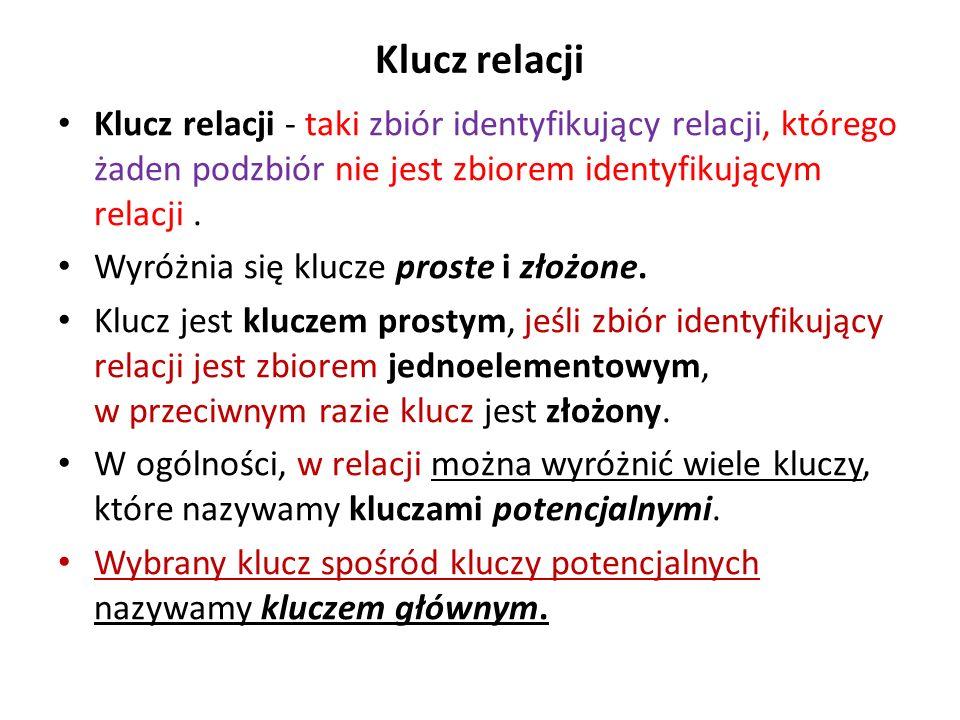 Klucz relacji Klucz relacji - taki zbiór identyfikujący relacji, którego żaden podzbiór nie jest zbiorem identyfikującym relacji. Wyróżnia się klucze