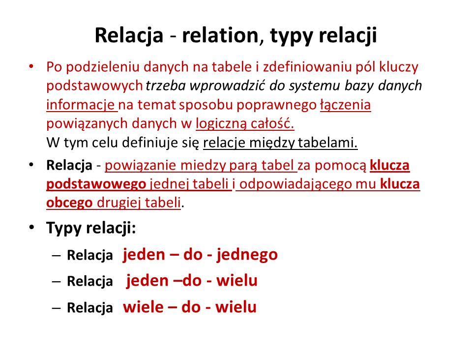 Relacja - relation, typy relacji Po podzieleniu danych na tabele i zdefiniowaniu pól kluczy podstawowych trzeba wprowadzić do systemu bazy danych info
