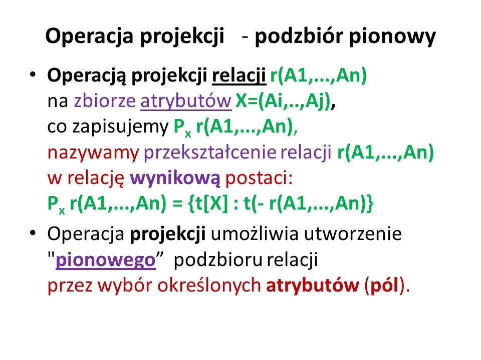 Operacja projekcji - podzbiór pionowy Operacją projekcji relacji r(A1,...,An) na zbiorze atrybutów X=(Ai,..,Aj), co zapisujemy P x r(A1,...,An), nazyw