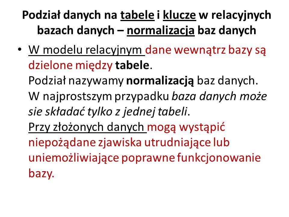 Podział danych na tabele i klucze w relacyjnych bazach danych – normalizacja baz danych W modelu relacyjnym dane wewnątrz bazy są dzielone między tabe