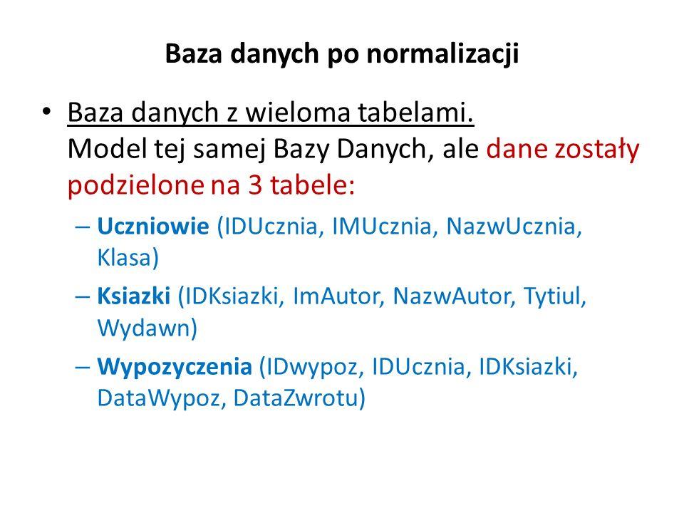 Baza danych po normalizacji Baza danych z wieloma tabelami. Model tej samej Bazy Danych, ale dane zostały podzielone na 3 tabele: – Uczniowie (IDUczni