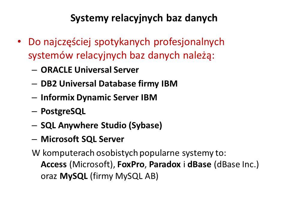 Systemy relacyjnych baz danych Do najczęściej spotykanych profesjonalnych systemów relacyjnych baz danych należą: – ORACLE Universal Server – DB2 Univ