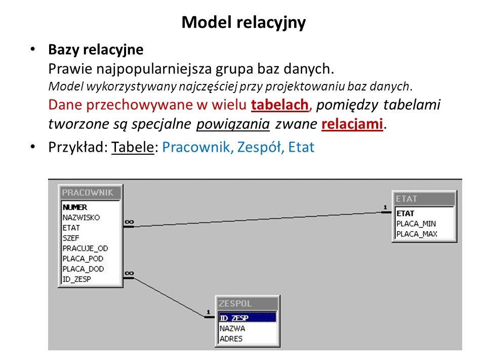 Model relacyjny Bazy relacyjne Prawie najpopularniejsza grupa baz danych. Model wykorzystywany najczęściej przy projektowaniu baz danych. Dane przecho