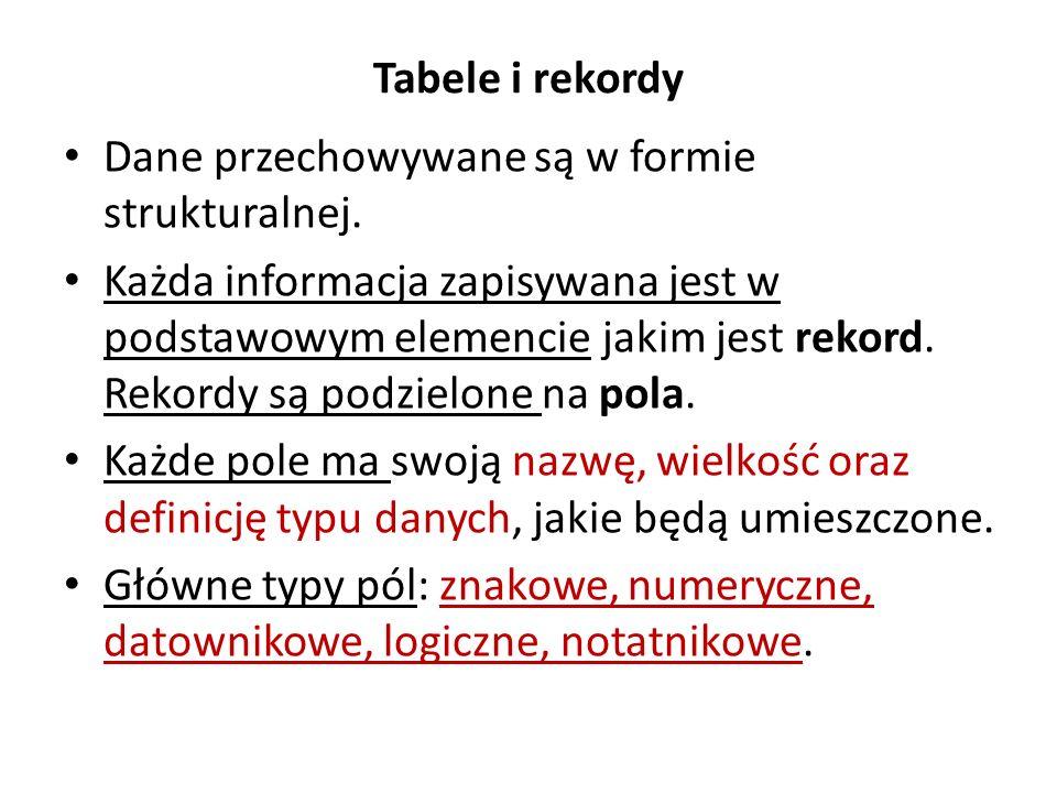 Baza danych po normalizacji Baza danych z wieloma tabelami.