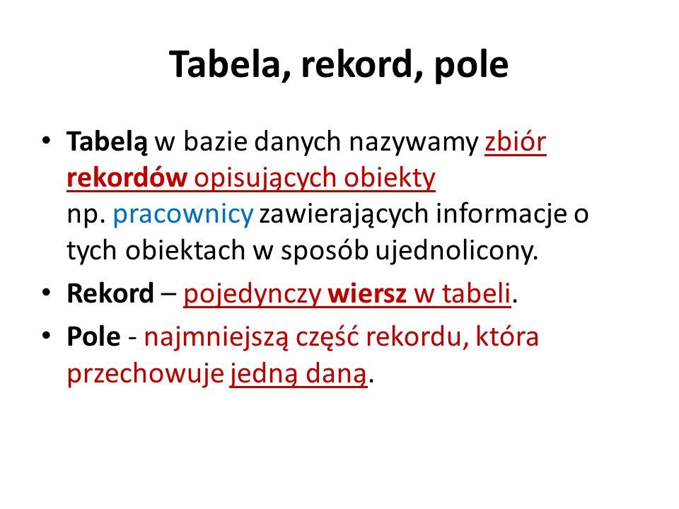 Tabela, rekord, pole Tabelą w bazie danych nazywamy zbiór rekordów opisujących obiekty np. pracownicy zawierających informacje o tych obiektach w spos
