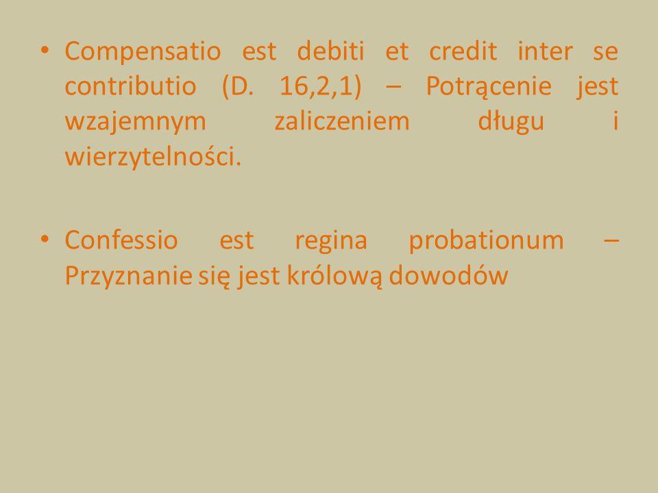 Compensatio est debiti et credit inter se contributio (D. 16,2,1) – Potrącenie jest wzajemnym zaliczeniem długu i wierzytelności. Confessio est regina
