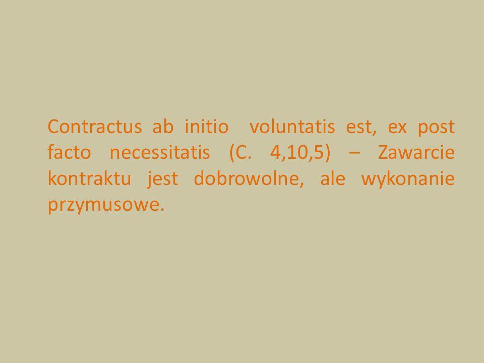 Contractus ab initio voluntatis est, ex post facto necessitatis (C. 4,10,5) – Zawarcie kontraktu jest dobrowolne, ale wykonanie przymusowe.