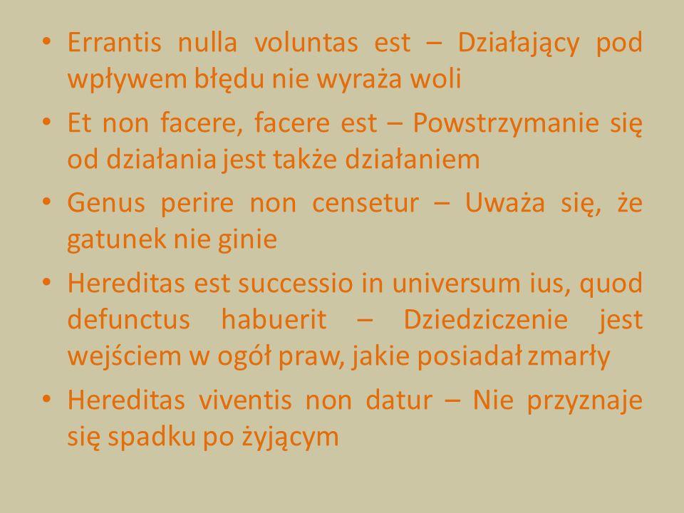Errantis nulla voluntas est – Działający pod wpływem błędu nie wyraża woli Et non facere, facere est – Powstrzymanie się od działania jest także dział