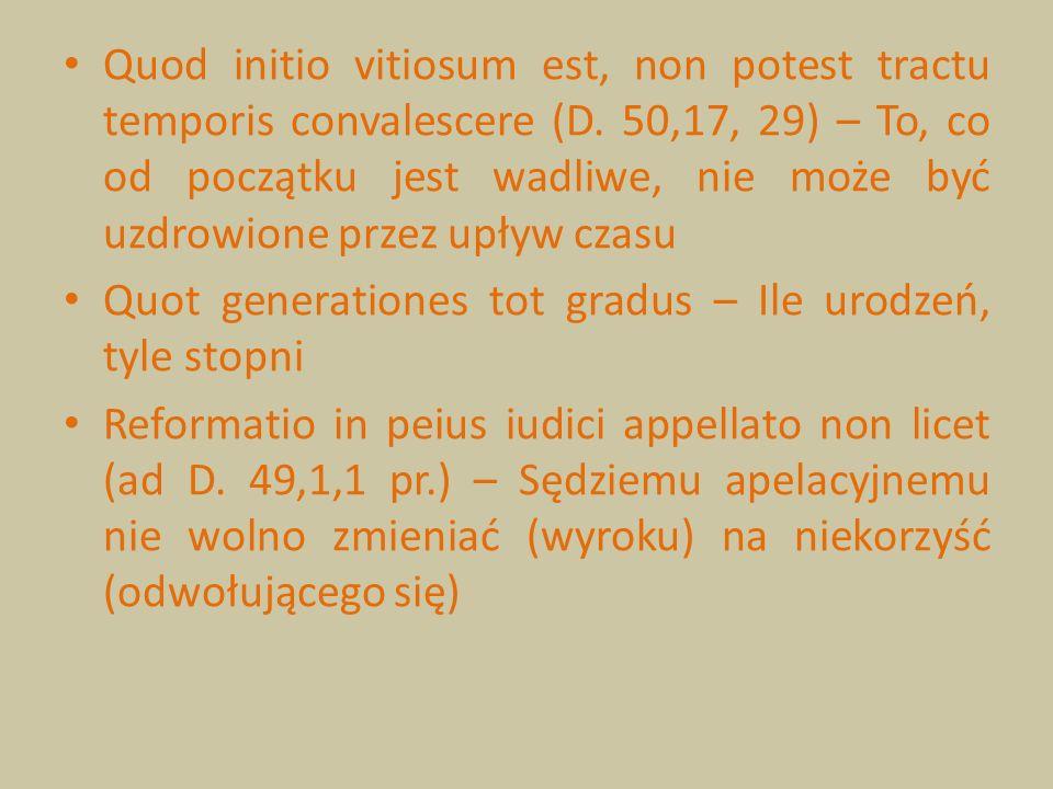 Quod initio vitiosum est, non potest tractu temporis convalescere (D. 50,17, 29) – To, co od początku jest wadliwe, nie może być uzdrowione przez upły