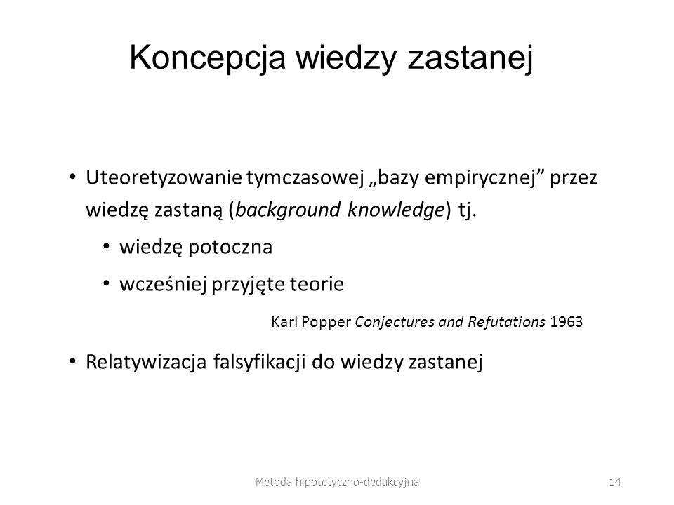 Koncepcja wiedzy zastanej Uteoretyzowanie tymczasowej bazy empirycznej przez wiedzę zastaną (background knowledge) tj.