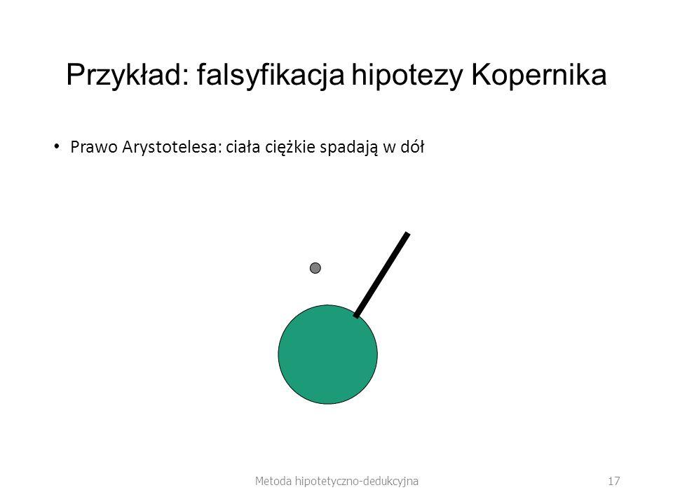 Przykład: falsyfikacja hipotezy Kopernika Prawo Arystotelesa: ciała ciężkie spadają w dół Metoda hipotetyczno-dedukcyjna 17