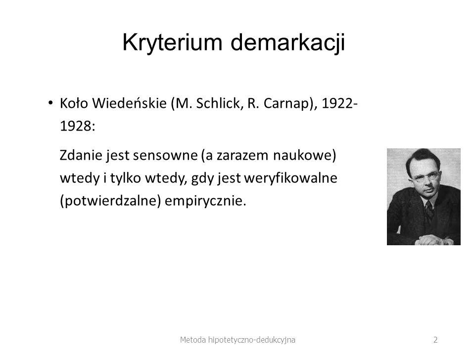 Hipotezy ad hoc Hipoteza FitzGeralda- Lorentza (1892): ruch ciał względem eteru skraca je o czynnik Metoda hipotetyczno-dedukcyjna 23