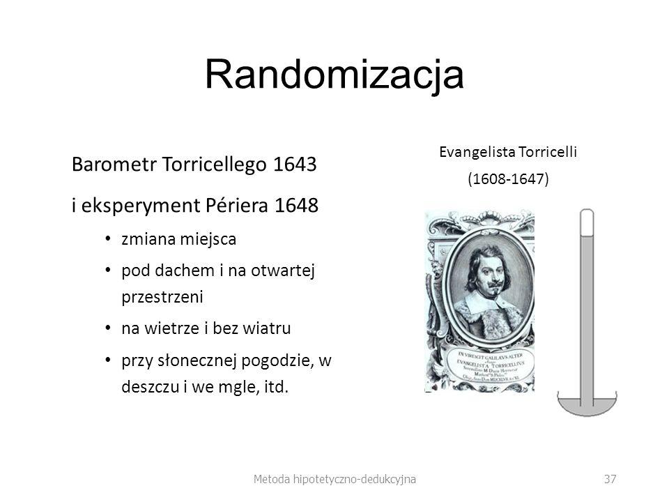 Randomizacja Barometr Torricellego 1643 i eksperyment Périera 1648 zmiana miejsca pod dachem i na otwartej przestrzeni na wietrze i bez wiatru przy słonecznej pogodzie, w deszczu i we mgle, itd.