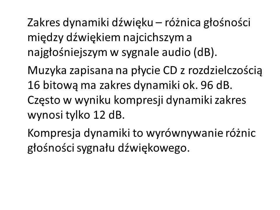 Zakres dynamiki dźwięku – różnica głośności między dźwiękiem najcichszym a najgłośniejszym w sygnale audio (dB). Muzyka zapisana na płycie CD z rozdzi