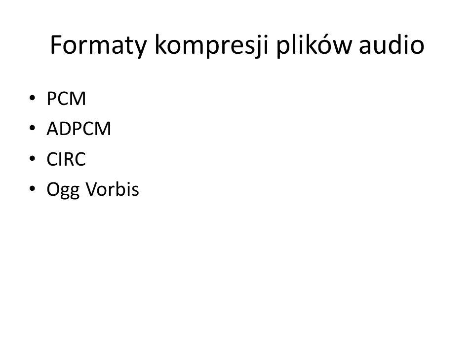 Formaty kompresji plików audio PCM ADPCM CIRC Ogg Vorbis