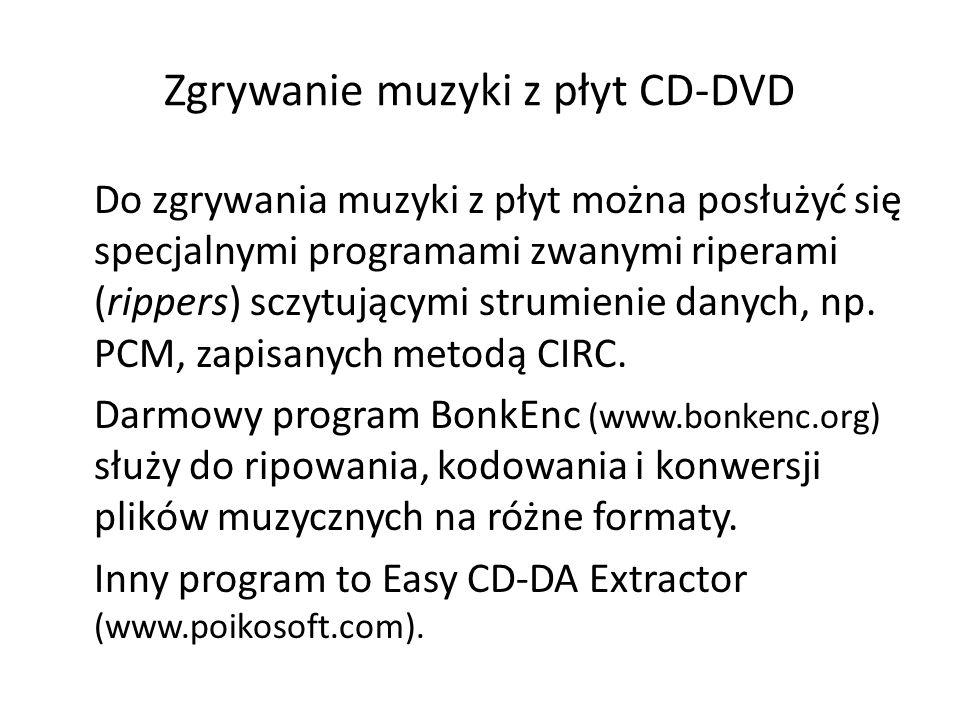 Zgrywanie muzyki z płyt CD-DVD Do zgrywania muzyki z płyt można posłużyć się specjalnymi programami zwanymi riperami (rippers) sczytującymi strumienie