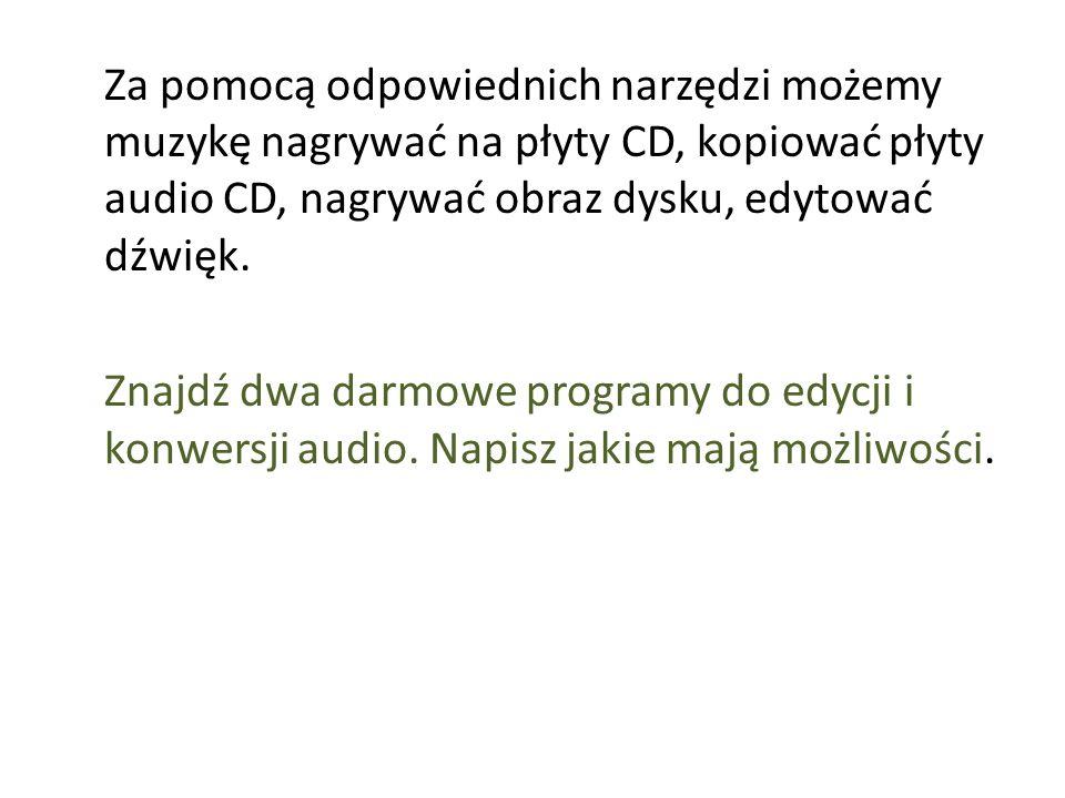 Za pomocą odpowiednich narzędzi możemy muzykę nagrywać na płyty CD, kopiować płyty audio CD, nagrywać obraz dysku, edytować dźwięk. Znajdź dwa darmowe