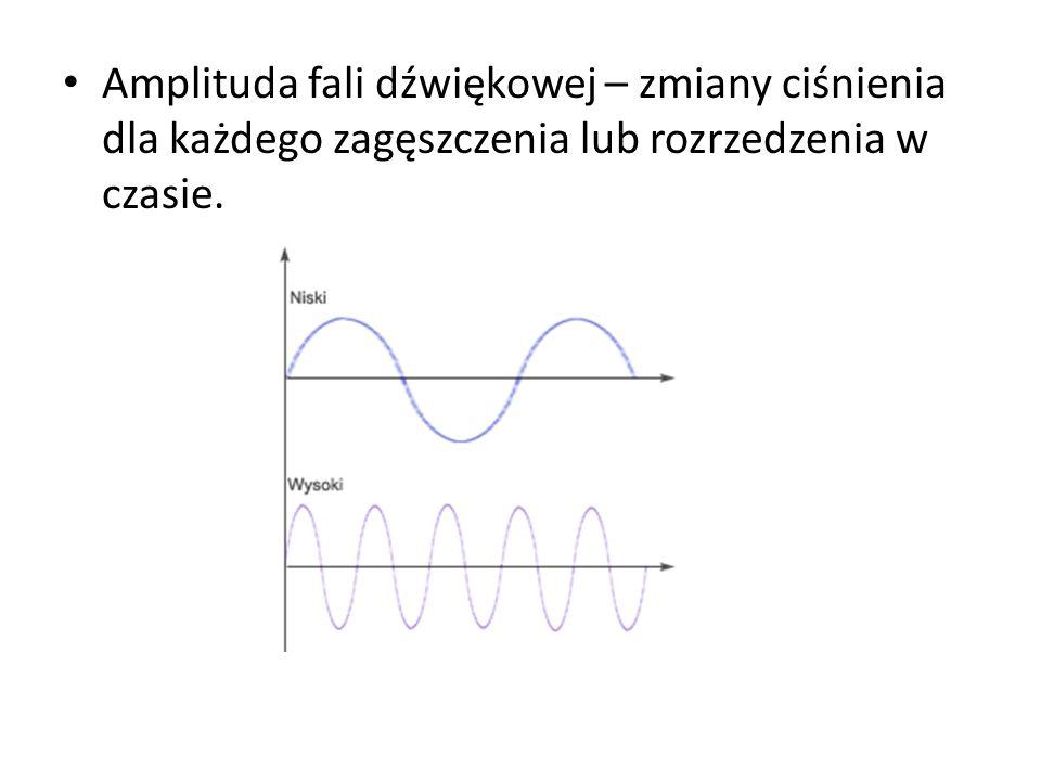 Amplituda fali dźwiękowej – zmiany ciśnienia dla każdego zagęszczenia lub rozrzedzenia w czasie.
