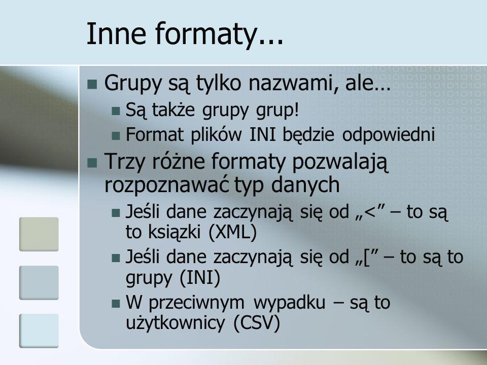 Inne formaty... Grupy są tylko nazwami, ale… Są także grupy grup.