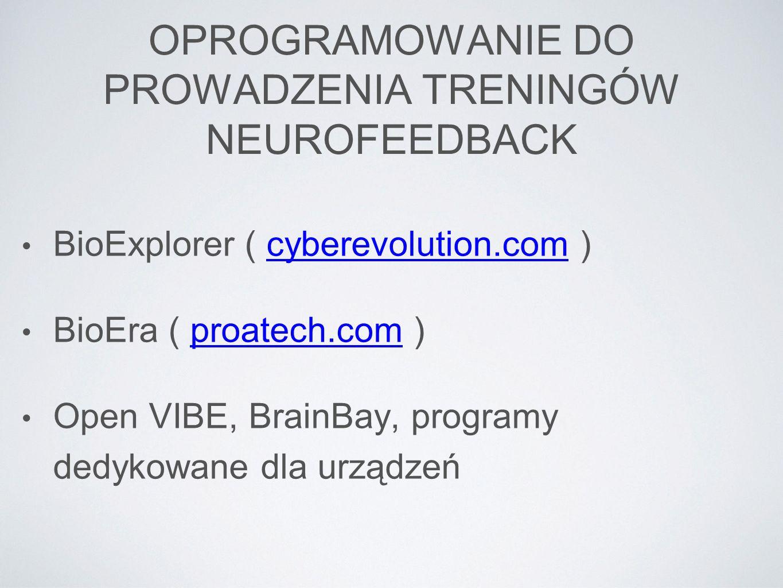 OPROGRAMOWANIE DO PROWADZENIA TRENINGÓW NEUROFEEDBACK BioExplorer ( cyberevolution.com )cyberevolution.com BioEra ( proatech.com )proatech.com Open VI