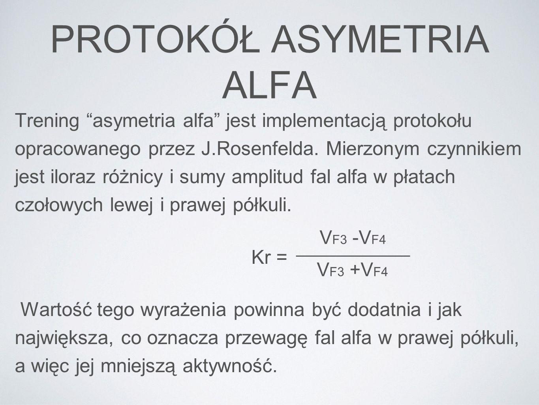 PROTOKÓŁ ASYMETRIA ALFA Trening asymetria alfa jest implementacją protokołu opracowanego przez J.Rosenfelda. Mierzonym czynnikiem jest iloraz różnicy