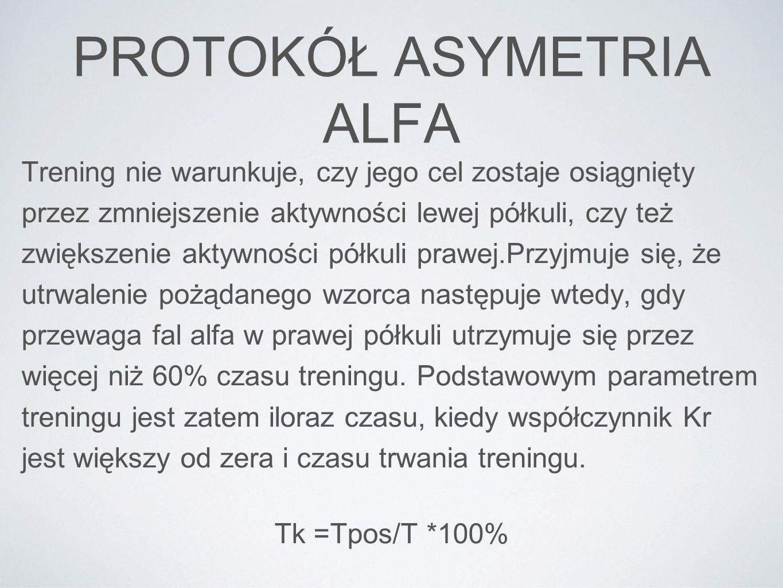 PROTOKÓŁ ASYMETRIA ALFA Trening nie warunkuje, czy jego cel zostaje osiągnięty przez zmniejszenie aktywności lewej półkuli, czy też zwiększenie aktywn