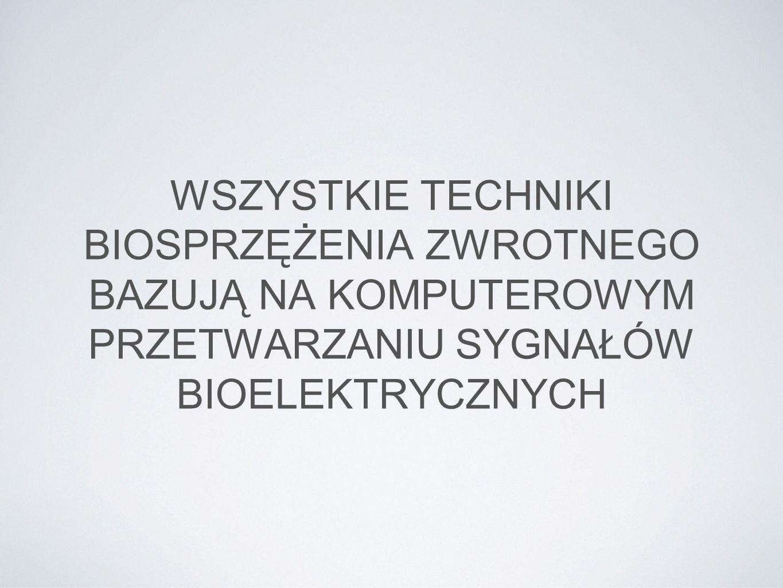 RODZAJE BIOFEEDBACKU Biofeedback EEG (neurofeedback) Biofeedback EMG Biofeedback GSR (Galvanic Skin Response) Biofeedback oddechowy (RSA) Biofeedback temperaturowy Biofeedback HEG Biofeedback SCP (wolne potencjały korowe)