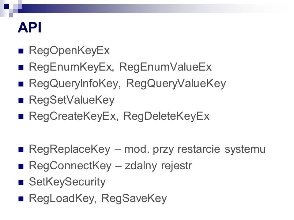 API RegOpenKeyEx RegEnumKeyEx, RegEnumValueEx RegQueryInfoKey, RegQueryValueKey RegSetValueKey RegCreateKeyEx, RegDeleteKeyEx RegReplaceKey – mod.