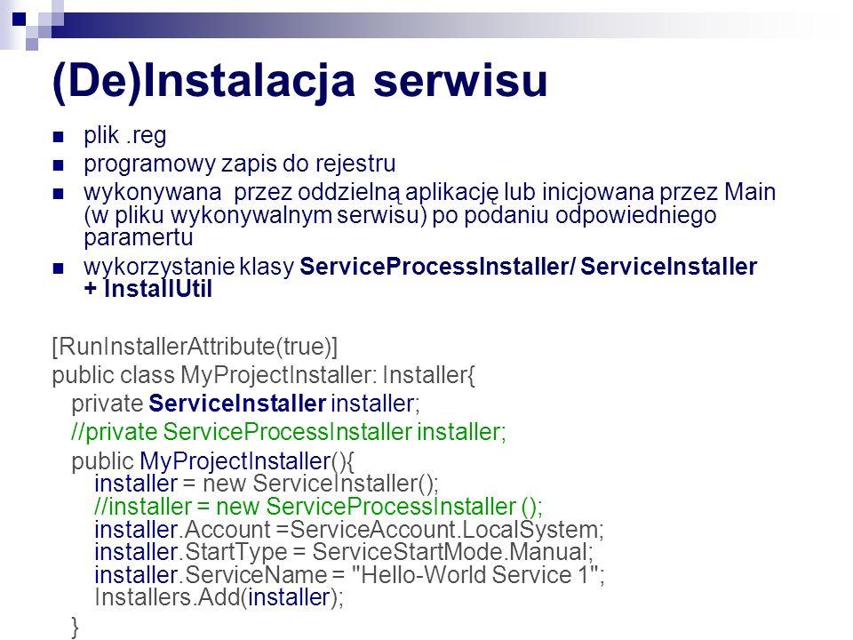Zmiany w Windows Vista/7 Failure Detection and Recovery – w przypadku problemu ze startem SCM moze restartować serwis lub podjąc inna akcję ChangeServiceConfig2+ SERVICE_CONFIG_DELAYED_AUTO_START_INFO Delayed autostart – autostart jest wykonywany z opóznieniem ChangeServiceConfig2+ SERVICE_CONFIG_DELAYED_AUTO_START_INFO Preshutdown Notifications – uprzedzenie że zamykanie serwisu może trwać dłużej niż 30s ChangeServiceConfig2+ SERVICE_CONTROL_PRESHUTDOWN Service Isolation : ChangeServiceConfig2+ SERVICE_CONFIG_SERVICE_SID_INFO Sesja 0 jest teraz wyłącznie używana przez serwisy (dawniej do niej trafial pierwszy logujący się użytkownik)– serwis nie moze wysłac messedza systemowego do aplikaci ani vversa.