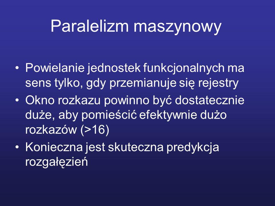 Paralelizm maszynowy Powielanie jednostek funkcjonalnych ma sens tylko, gdy przemianuje się rejestry Okno rozkazu powinno być dostatecznie duże, aby p