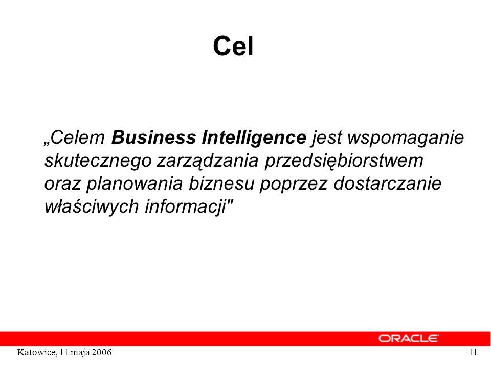 11Katowice, 11 maja 2006 Cel Celem Business Intelligence jest wspomaganie skutecznego zarządzania przedsiębiorstwem oraz planowania biznesu poprzez do