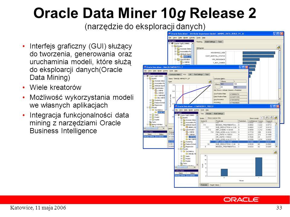 33Katowice, 11 maja 2006 Oracle Data Miner 10g Release 2 (narzędzie do eksploracji danych) Interfejs graficzny (GUI) służący do tworzenia, generowania