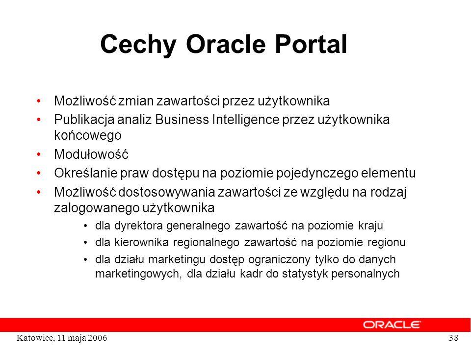 38Katowice, 11 maja 2006 Cechy Oracle Portal Możliwość zmian zawartości przez użytkownika Publikacja analiz Business Intelligence przez użytkownika ko