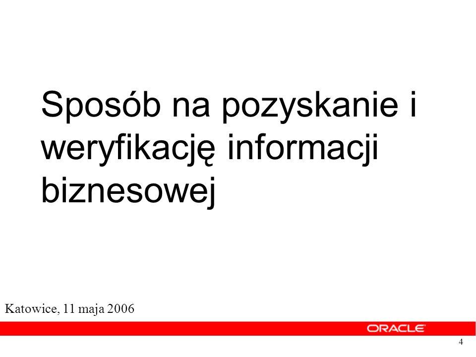 4 Sposób na pozyskanie i weryfikację informacji biznesowej Katowice, 11 maja 2006