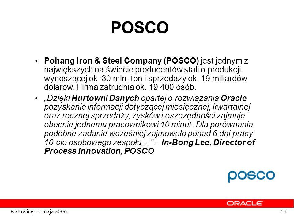 43Katowice, 11 maja 2006 POSCO Pohang Iron & Steel Company (POSCO) jest jednym z największych na świecie producentów stali o produkcji wynoszącej ok.