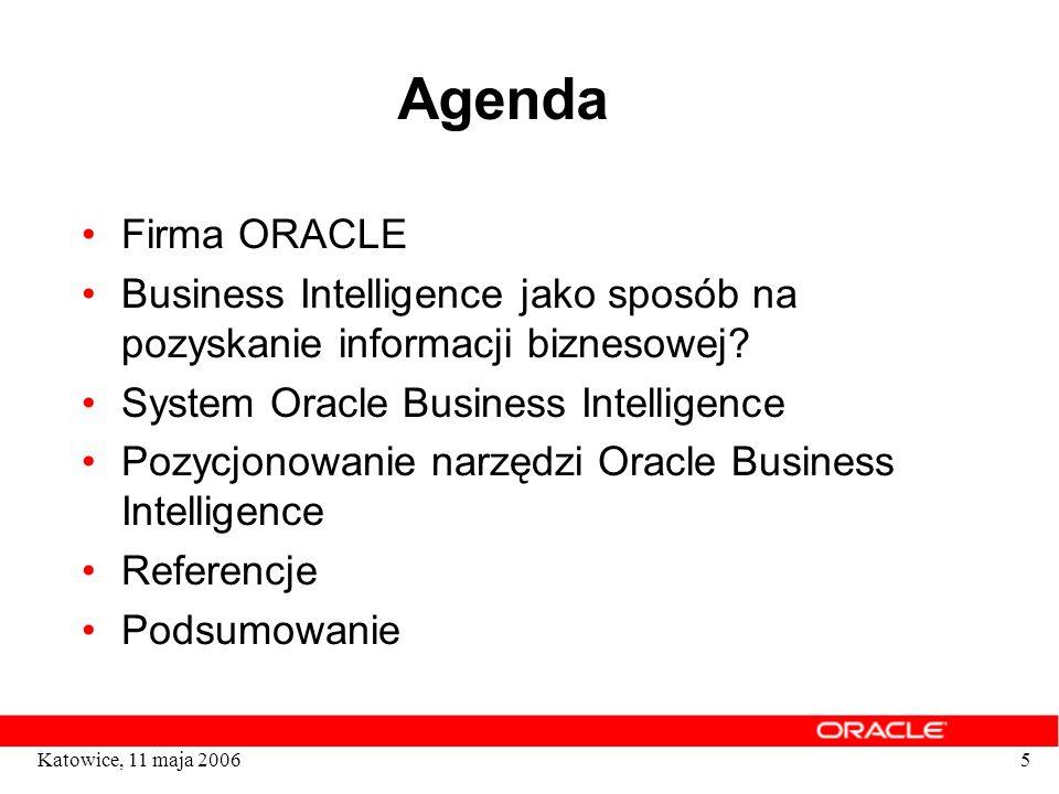 5 Agenda Firma ORACLE Business Intelligence jako sposób na pozyskanie informacji biznesowej? System Oracle Business Intelligence Pozycjonowanie narzęd