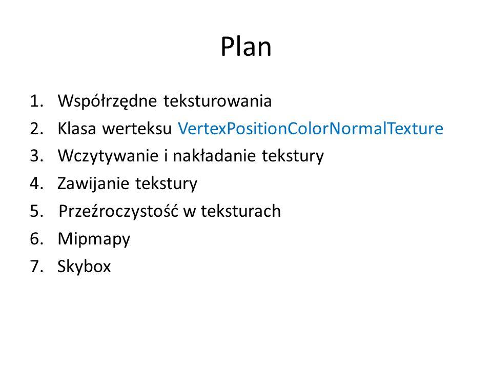 Plan 1.Współrzędne teksturowania 2.Klasa werteksu VertexPositionColorNormalTexture 3.Wczytywanie i nakładanie tekstury 4.Zawijanie tekstury 5.Przeźroc