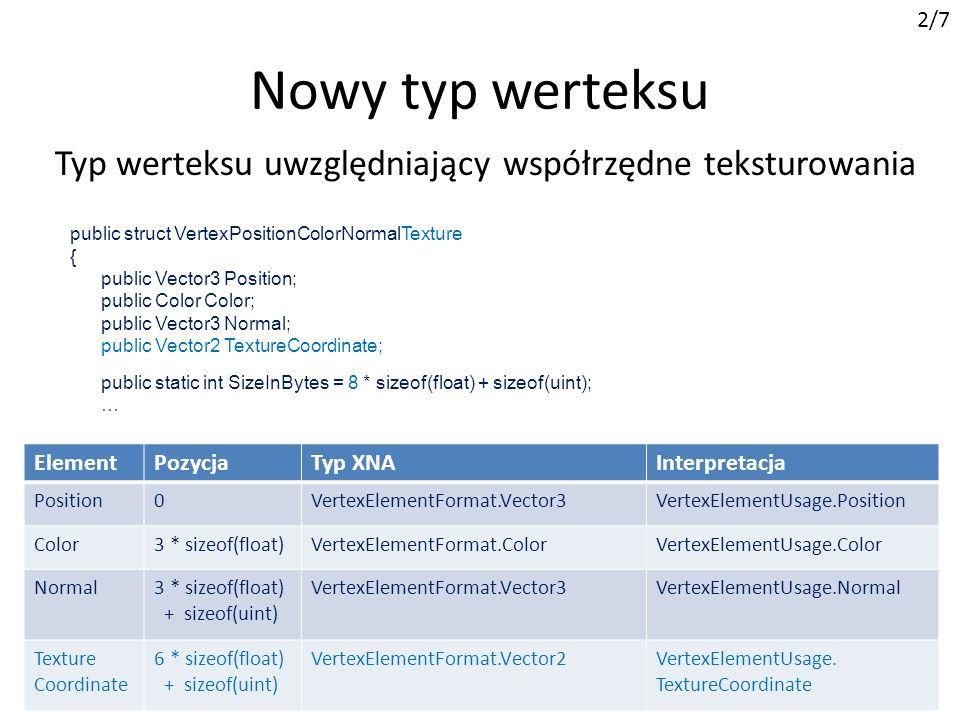 public struct VertexPositionColorNormalTexture { public Vector3 Position; public Color Color; public Vector3 Normal; public Vector2 TextureCoordinate;