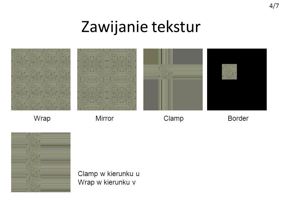 Przezroczystość tekstur 5/7 efekt.Texture = this.Content.Load ( Xnalogo16 ); int iloscPikseli = efekt.Texture.Width * efekt.Texture.Height; Color[] tabelaPikseli = new Color[iloscPikseli]; efekt.Texture.GetData (tabelaPikseli); Color kolorPrzezroczysty = tabelaPikseli[0]; //piksel (0,0) for (int i = 0; i < iloscPikseli; i++) if (tabelaPikseli[i] == kolorPrzezroczysty) tabelaPikseli[i].A = 0; efekt.Texture.SetData (tabelaPikseli); Ładowanie tekstury Kopiowanie tekseli do tablicy Color[] Zapisanie zmian do tekstury Białe bity będą przeźroczyste Należy pamiętać o włączeniu alpha blendingu!