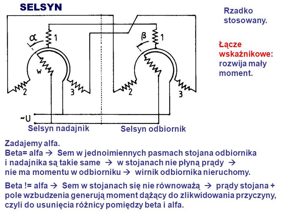 SELSYN Selsyn nadajnik Selsyn odbiornik Zadajemy alfa. Beta= alfa Sem w jednoimiennych pasmach stojana odbiornika i nadajnika są takie same w stojanac