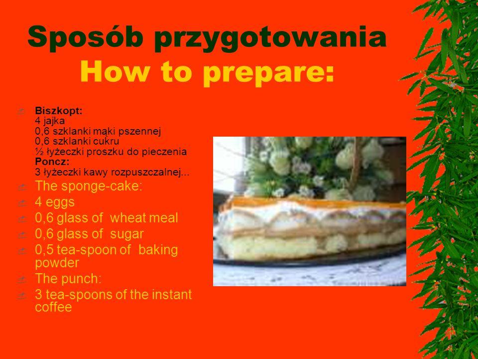 Sposób przygotowania How to prepare: Biszkopt: 4 jajka 0,6 szklanki mąki pszennej 0,6 szklanki cukru ½ łyżeczki proszku do pieczenia Poncz: 3 łyżeczki