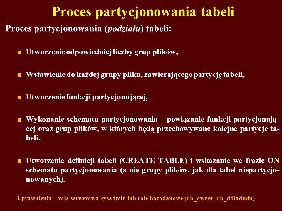 Proces partycjonowania tabeli Proces partycjonowania (podziału) tabeli: Utworzenie odpowiedniej liczby grup plików, Wstawienie do każdej grupy pliku,