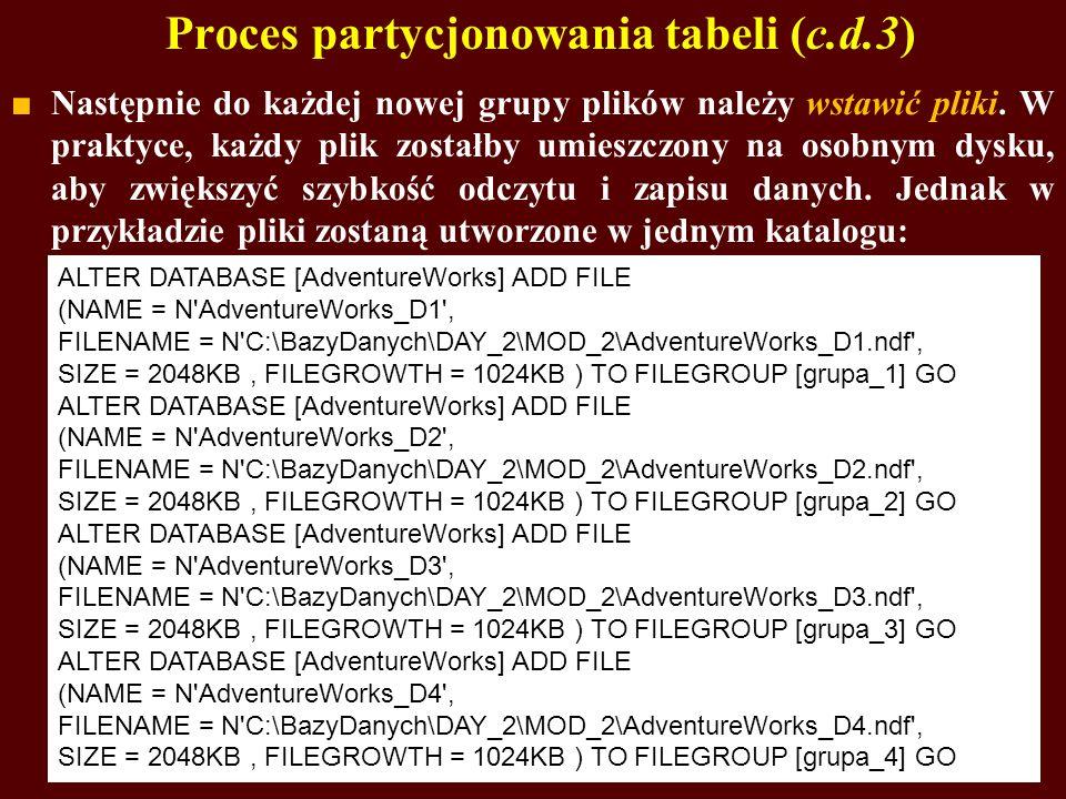 Proces partycjonowania tabeli (c.d.3) Następnie do każdej nowej grupy plików należy wstawić pliki. W praktyce, każdy plik zostałby umieszczony na osob