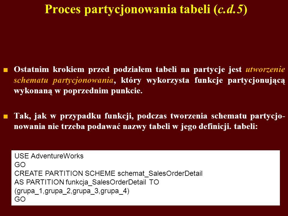 Proces partycjonowania tabeli (c.d.5) Ostatnim krokiem przed podziałem tabeli na partycje jest utworzenie schematu partycjonowania, który wykorzysta f