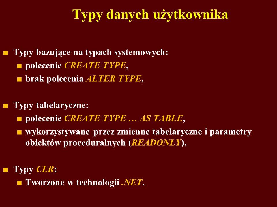 Typy bazujące na typach systemowych: polecenie CREATE TYPE, brak polecenia ALTER TYPE, Typy tabelaryczne: polecenie CREATE TYPE … AS TABLE, wykorzysty