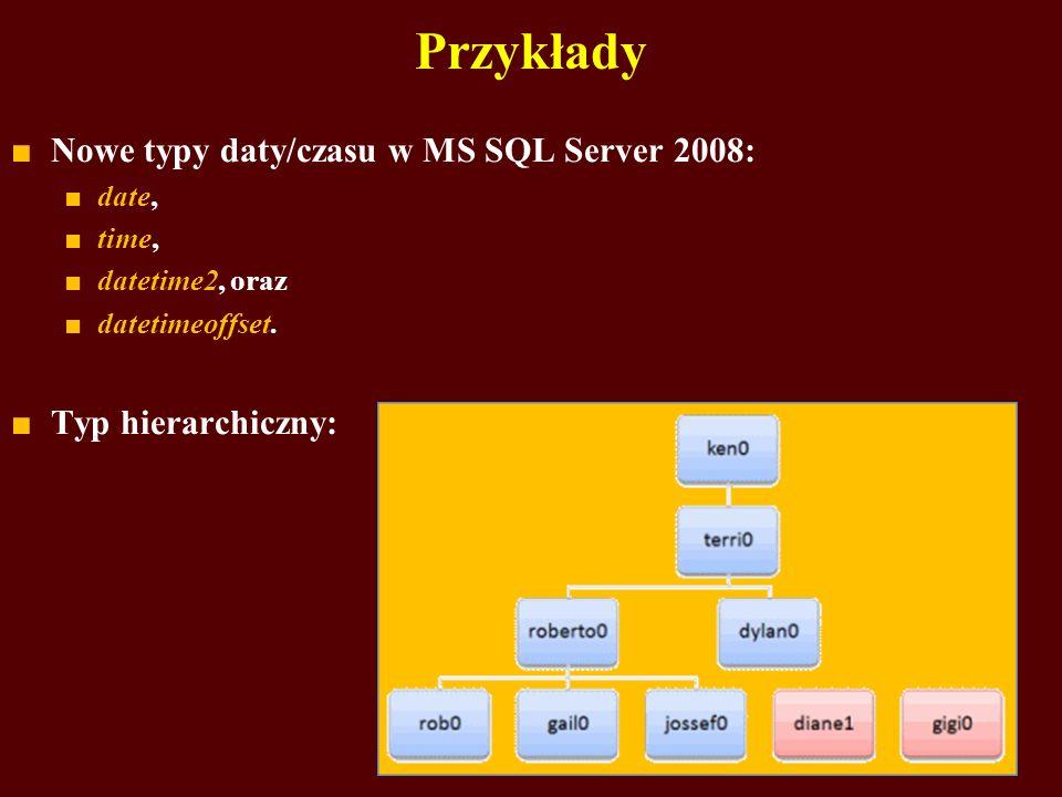 Nowe typy daty/czasu w MS SQL Server 2008: date, time, datetime2, oraz datetimeoffset. Typ hierarchiczny: Przykłady